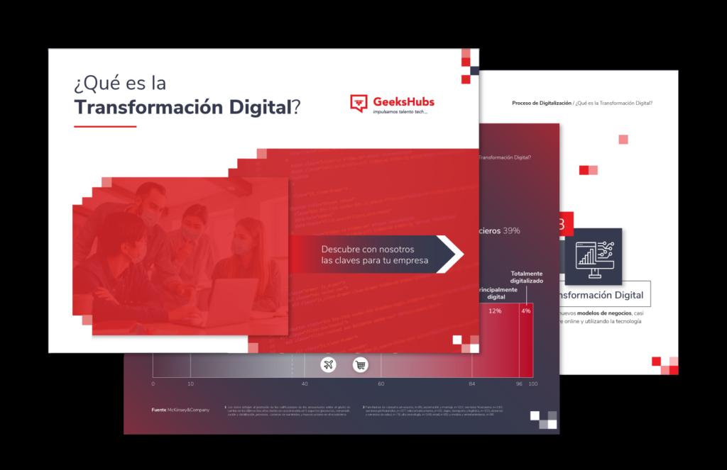Mockup del ebook de Transformación Digital de GeeksHubs